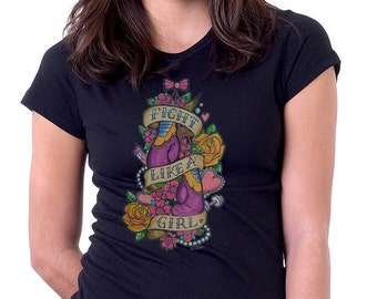 Fight Like A Girl Female Attitude Boxing Style Tshirt, Geek Gift, Geek Tshirt, Tattoo Art, Hipster, IWGCustoms