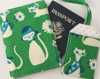 Cats Passport Cover, Passport Wallet, Travel Set, Passport Holder and Luggage Tag, Cat Lover Travel Set, Gift for Her, Gift under 20