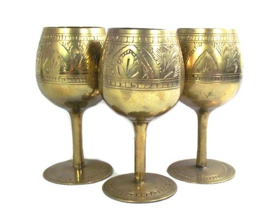Set of 3 Vintage Indian Brass Wine Goblets