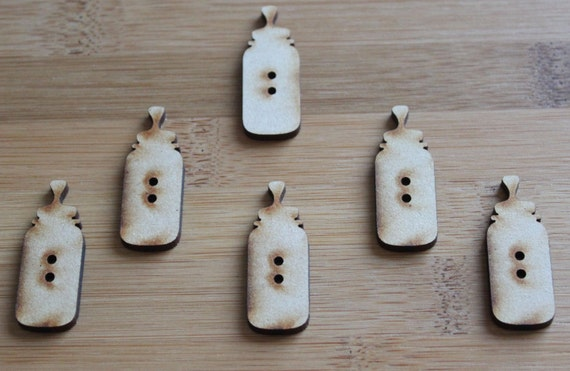 8 pieces. Baby Bottle Buttons, 1.5 cm Buttons -Acrylic and Wood Laser Cut-Jewellery Supplies-Little Laser Lab Wood and Acrylic Products