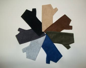 Kid's Fleece Fingerless Gloves / Texting Gloves / Solid Neutral Colors / Tan, Brown, Green, Blue, Gray, Charcoal or Black.