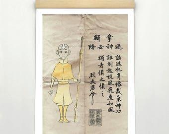 "AVATAR The Last Airbender AANG- Original Design, Inspired Minimalist Movie Poster Print 24 x 36"""
