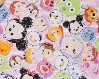 "Tsum Tsum Character Fabric made in Japan, Baby Pink, FQ 45cm by 53cm or 18"" by 21"""