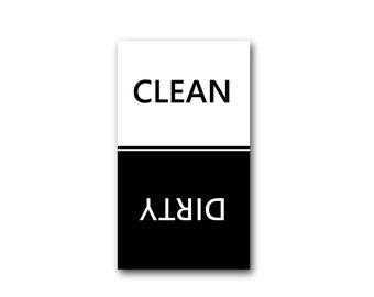 Clean Dirty Dishwasher Magnet Classic Black  White Stripe