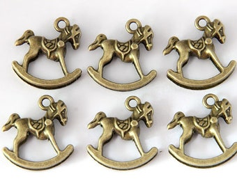 DIY accessory, Antique Bronze Rocking Horse Charms, hobby horse, bronze horse pendant, rocking horse, 28*28mm, 20pcs, HZ0123