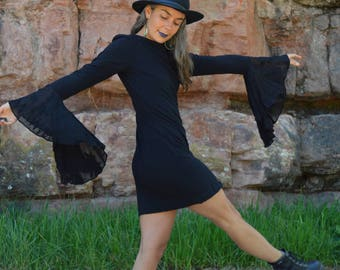 Vintage Nicole Miller Bell Sleeve Dress Black Mini Hippie Dress
