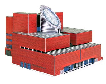 SFMOMA Building || full color architectural paper model || kit with pre-cut details