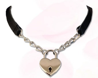 Sweetheart Heart Lock Collar Leather Submissive BDSM Daytime Slave Collar BLACK