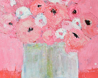 Large Original Pink & Blue Acrylic Painting Canvas. Roses Floral Painting. Mixed Media Collage Flower Art Painting Flower. No 299