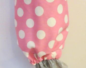 Homemade Grocery Bag Holder / Carrier Bag Storage / Plastic Bag Storage - Pink With Dots