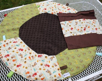 Travel Play Mat forest friends baby tummy time baby shower gift