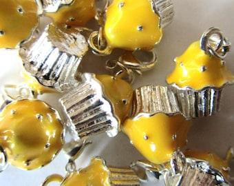 Set of 3 Yellow and Silver 3-D Cupcake Dangle Bead Charm Pendants