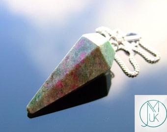 Ruby Fuchsite Gemstone Point Pendulum Dowsing Crystal Dowser Scrying Reiki Chakra Healing Free Uk Shipping