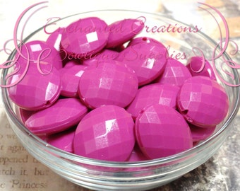 24mm x 20mm Rose Pink Oval Faceted Acrylic Beads Qty 10