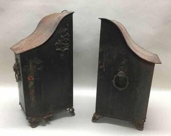 Two Antique Tole Paint Coal Scuttles