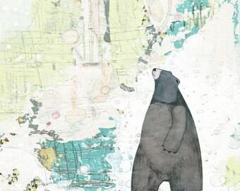 Grizzly Bear Art - DIY Modern Art , Instant Download , Abstract Green Art Print , Forest Friends , Boys Wall Art
