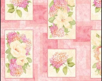 On Sale, Quilting Panel, Botanical, Quilt, Gift for Her, Romantic, Magnolias, Classic Garden Panel, Hydrangeas, Table Runner, Wall Hanging,