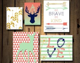 Personalized Nursery woodland wall art,mint,coral,faux gold tribal crib bedding,arrows-deer wall decor,set of 5, canvas art monogram art 149