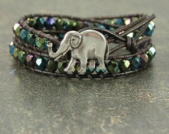 Elephant Bracelet Blue Purple Bronze Green Elephant Jewelry Unique Double Leather Wrap Bracelet