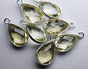925 Sterling Silver Lemon Quartz Faceted Pear Shape Pendant,2 Piece of 16mm