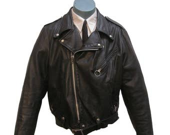 Black Leather Motorcycle Jacket Vintage Mens Brooks Leather Sportswear Traditional Biker Jacket Mens US Size 44  or X-Large Made in USA
