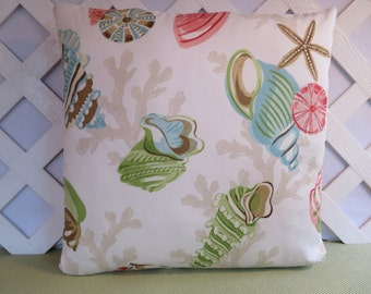 Seashells Pillow Cover in Aqua Coral Green Brown Beige on White / Shells Pillow / Ocean Pillow / Beach Theme Pillow / Aqua Coral Pillow