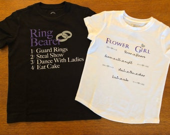 Ring bearer & Flower girl shirts. Made-to-order, colors custom to wedding!