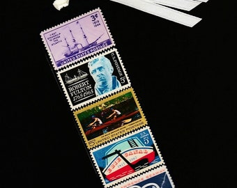 Bookmark-US Ships-Steamship-Robert Fulton-Erie Canal-Laminated Postage Stamps-Handmade Book Mark-Vintage 1960s United States Postal Stamps
