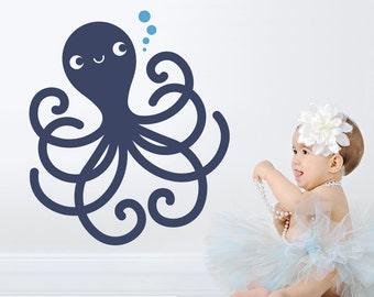 Happy Octopus Wall Decal Ocean Baby Under the Sea Nursery Underwater Sea Life Kids Room Decor