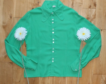 Perfect Original Vintage 60s Green Beagle Collar Button Front Blouse Uk Size 16
