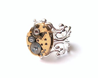 Mismatched Gold and Silver Watch Movement Ring, Steampunk Vintage Watch Ring, Adjustable Silver Filigree Ring
