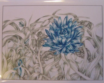 Teal Flower Cards (Ovarian Cancer)