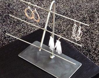 Jewelry Display Stand Metal Natural Steel - Bend 3-Bar Mini Ladder