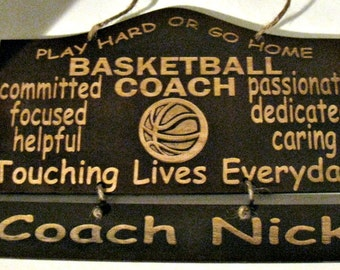 Personalized Wooden Basketball Coach Wall Hanging
