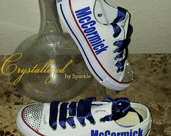 Converse Chuck Taylor All Stars Adorned with Swarovski® Crystals (Toe and Heel) with Vinyl Name on Each Side