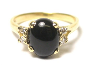 Vintage Onyx Diamond Ring - 14k Yellow Gold Oval Black Onyx and Diamonds G Color - VS2 -  Ring - Size 7 - Weight 3.2 Grams # 1440