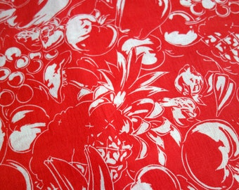 Vintage Fruit Fabric, Five Yards of Lightweight Polyester Fabric in Red with White Vegetables and Fruits, by Crantex Cranston Print Works