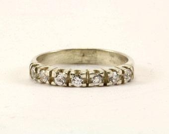 Vintage Crystal Inlay Thin Band Ring 925 Sterling RG 296