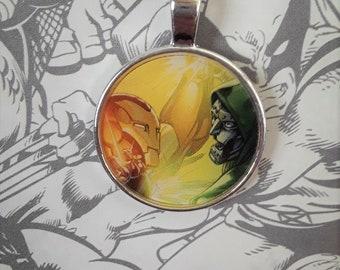 """1"""" Iron Man v. Dr. Doom necklace"""