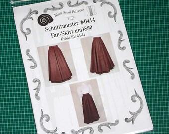 Edwardianischer Rock (Fan-Skirt) um 1890 Schnittmuster #0414 Größe EU 34-56