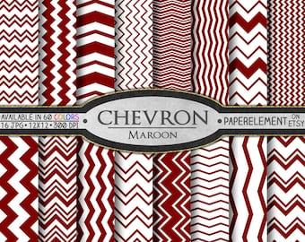 Maroon Chevron: Digital Printable Chevron Paper - Rusty Deep Red Maroon Zigzag Lines on Dark Red Paper - Burgundy, Tuscan, Oxblood Chevrons