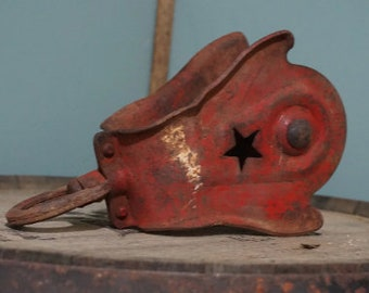 Vintage Metal Pulley with Star on Cage