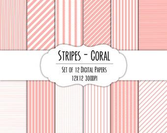 Coral Stripes Digital Scrapbook Paper 12x12 Pack - Set of 12 - Instant Download - Item#8207