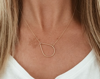 """Gold or Silver Teardrop Raindrop Necklace // 14/20 Gold-fill or Sterling Silver on a 16"""", 18"""", or 20"""" chain"""