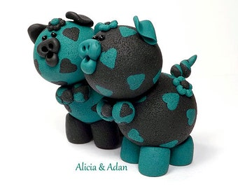Alicia & Adan Polymer Clay Piglets Figurines