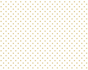 Dewdrops White/Gold Polka Dots, Snowflake Waltz Collection, Christmas 2017, by Maude Asbury For Blend Fabrics, 101.131.03.2
