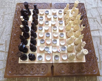 AMAZING Carved Wooden 3 in 1 chess backgammon checkers game board set hand made d475