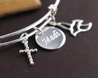 Confirmation Gift , Confirmation Gifts for Girls , Personalized Confirmation Bracelet Engraved with Name and Date , 925 Sterling Silver