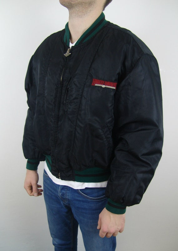 DAVIDSON biker jacket HARLEY back on bomber embroidered jacket vintage L size with 1990's logo vFFdgq