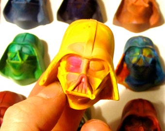 Kids VADER Crayons - 4 Recycled Crayons - Set of 4 Mini Invader Rainbow Crayons (Rainbow Mix Recycled Rainbow Crayon Set) - Easter Gift Kids